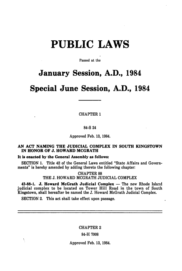 Rhode Island - General Assembly, January Session and June
