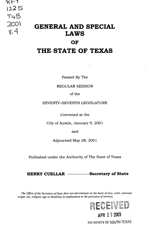 handle is hein.ssl/sstx0004 and id is 1 raw text is: Tq5