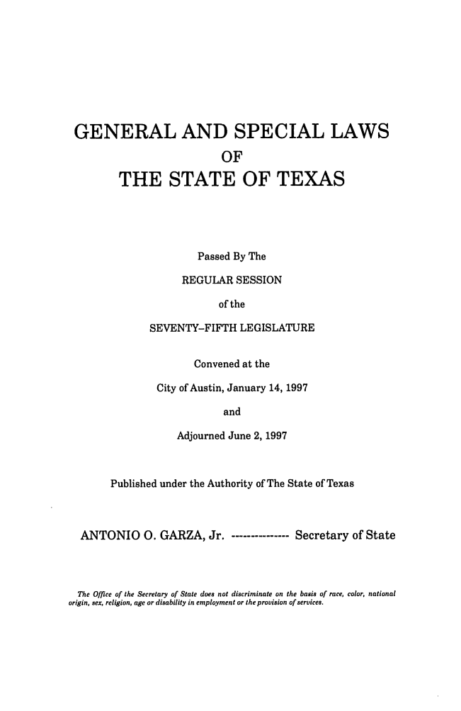 handle is hein.ssl/sstx0027 and id is 1 raw text is: GENERAL AND SPECIAL LAWS