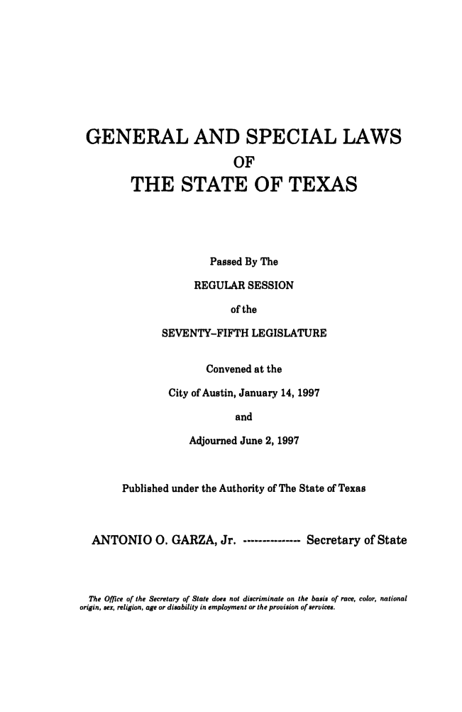 handle is hein.ssl/sstx0028 and id is 1 raw text is: GENERAL AND SPECIAL LAWS