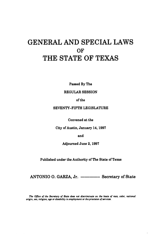 handle is hein.ssl/sstx0029 and id is 1 raw text is: GENERAL AND SPECIAL LAWS