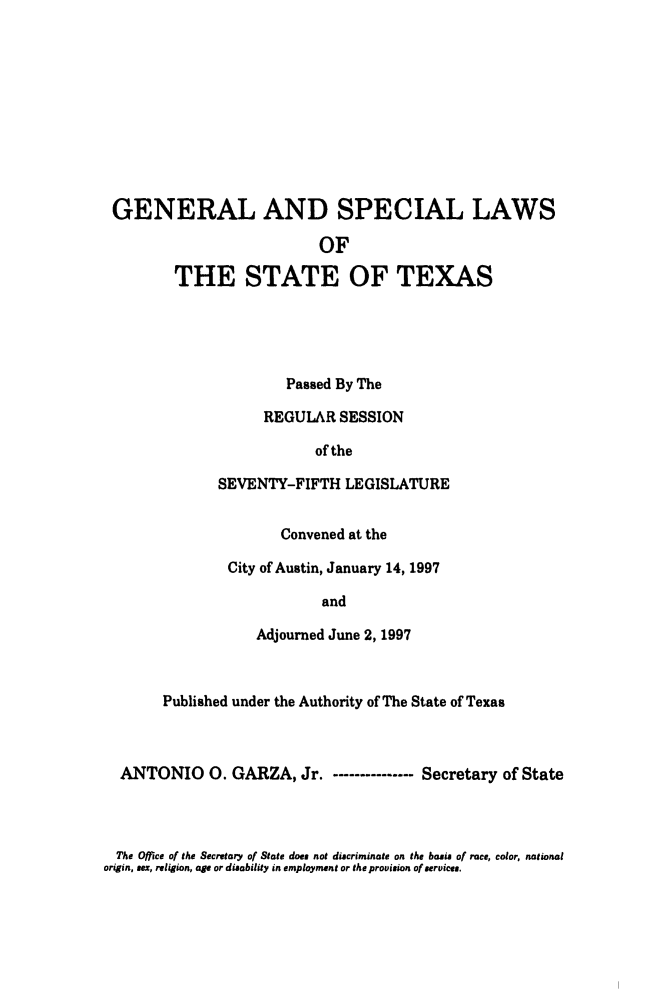 handle is hein.ssl/sstx0030 and id is 1 raw text is: GENERAL AND SPECIAL LAWS
