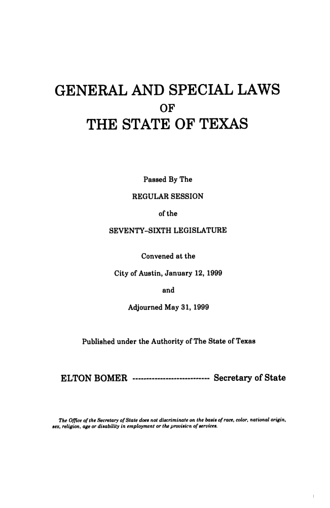 handle is hein.ssl/sstx0031 and id is 1 raw text is: GENERAL AND SPECIAL LAWS
