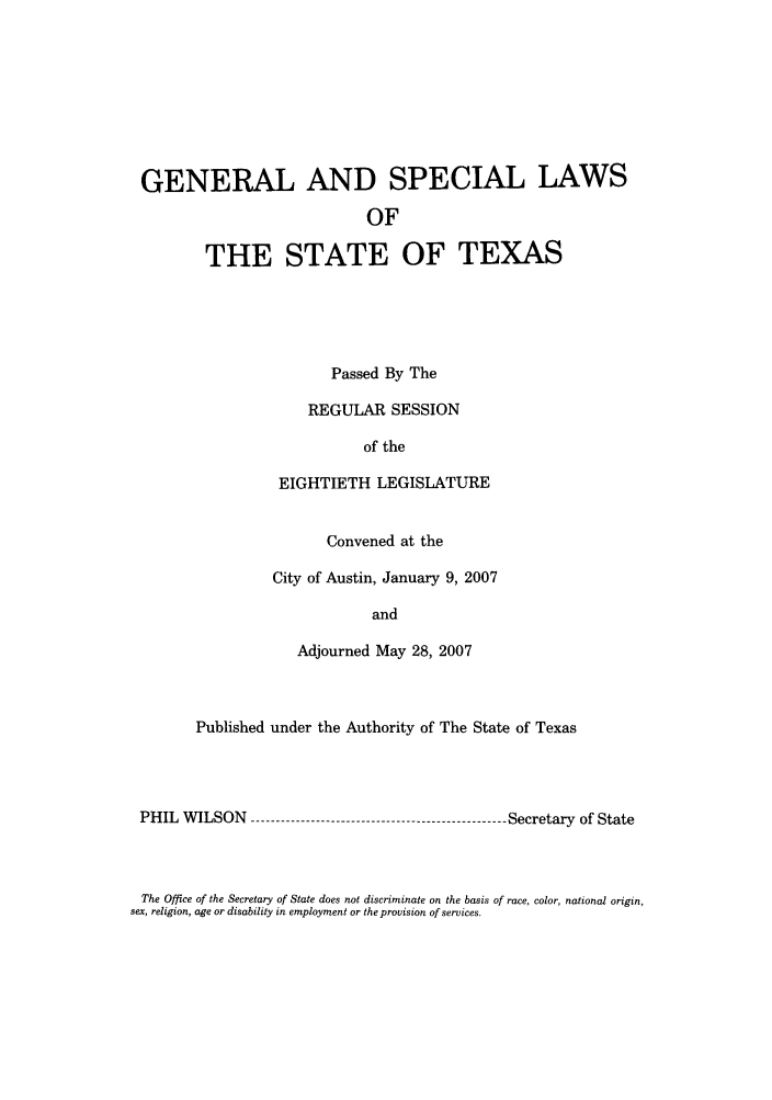 handle is hein.ssl/sstx0039 and id is 1 raw text is: GENERAL AND SPECIAL LAWS