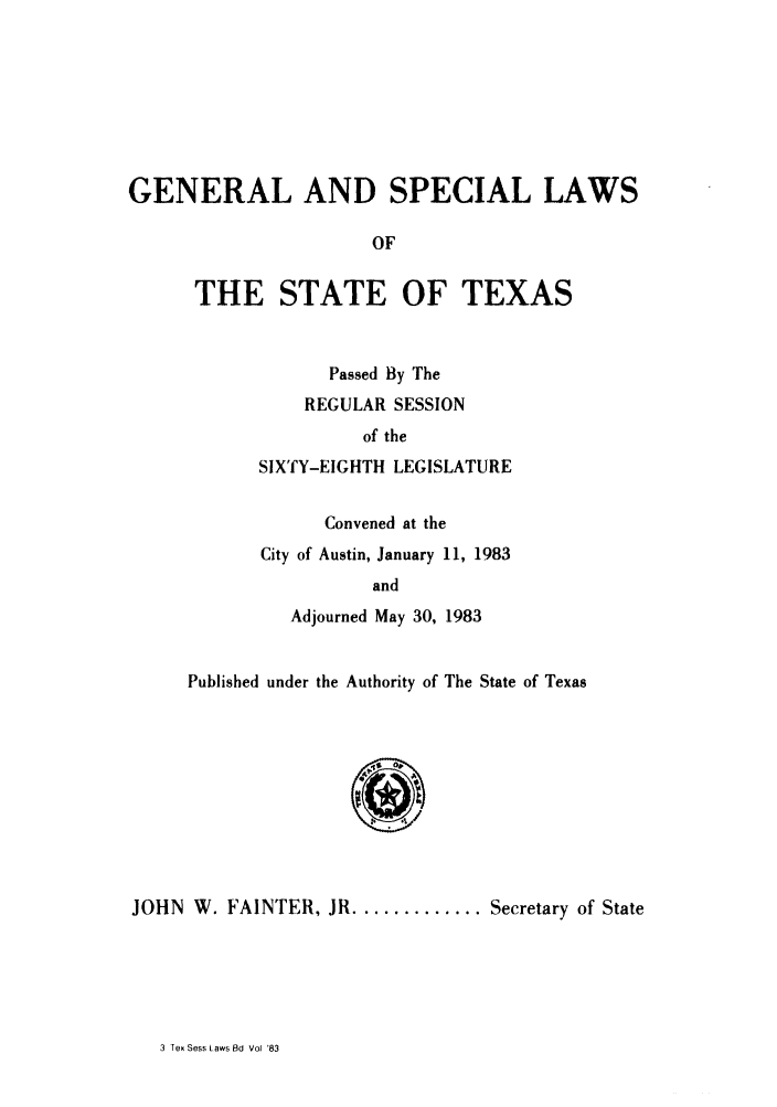 handle is hein.ssl/sstx0078 and id is 1 raw text is: GENERAL AND SPECIAL LAWS