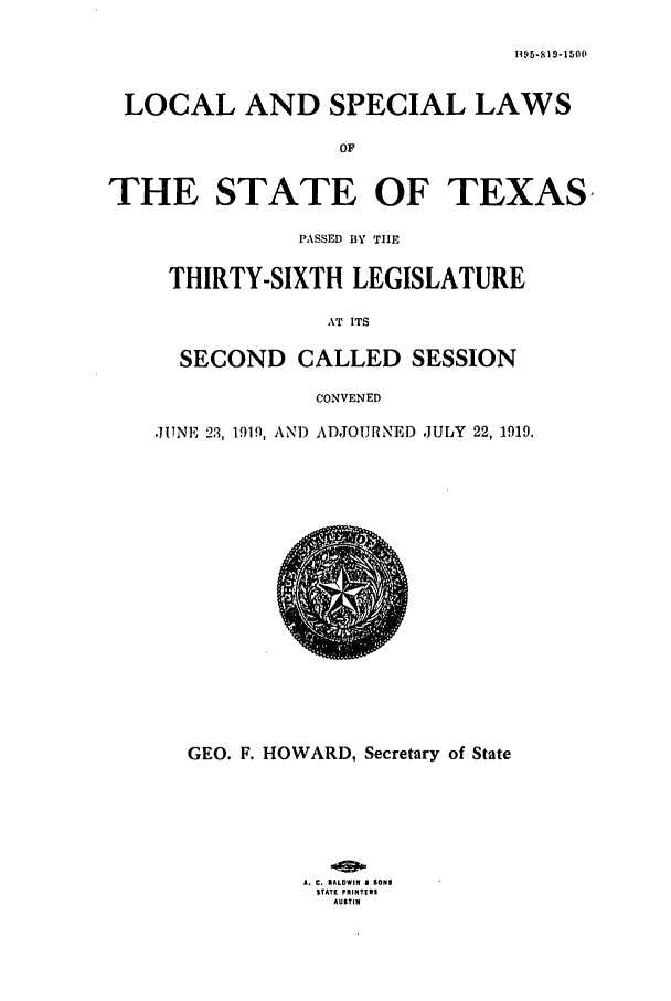 handle is hein.ssl/sstx0101 and id is 1 raw text is: B 3 5-SI19-1500