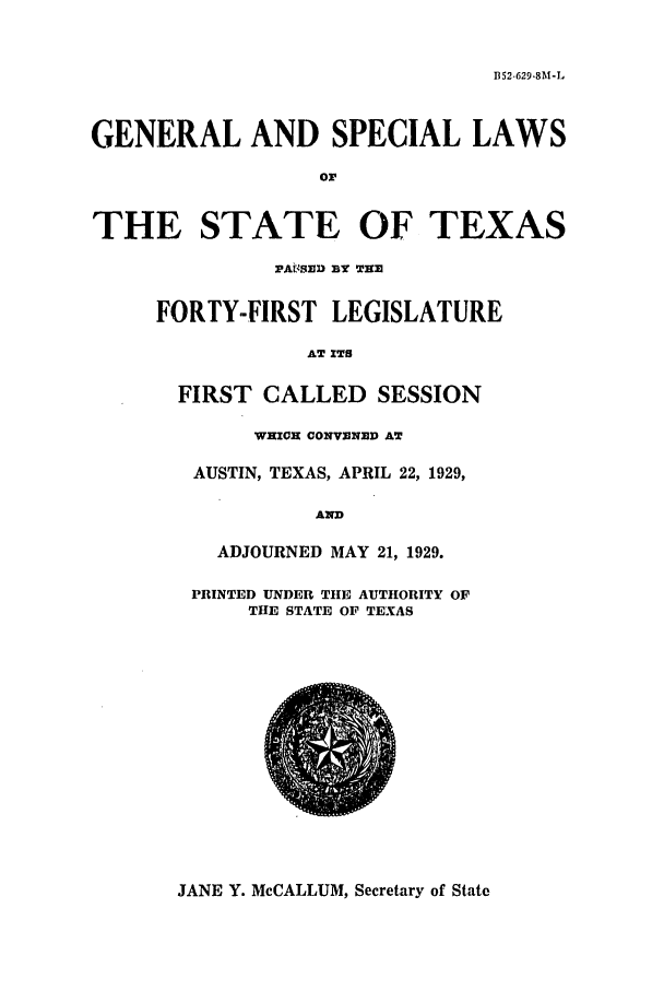 handle is hein.ssl/sstx0118 and id is 1 raw text is: B52-629.8M-L