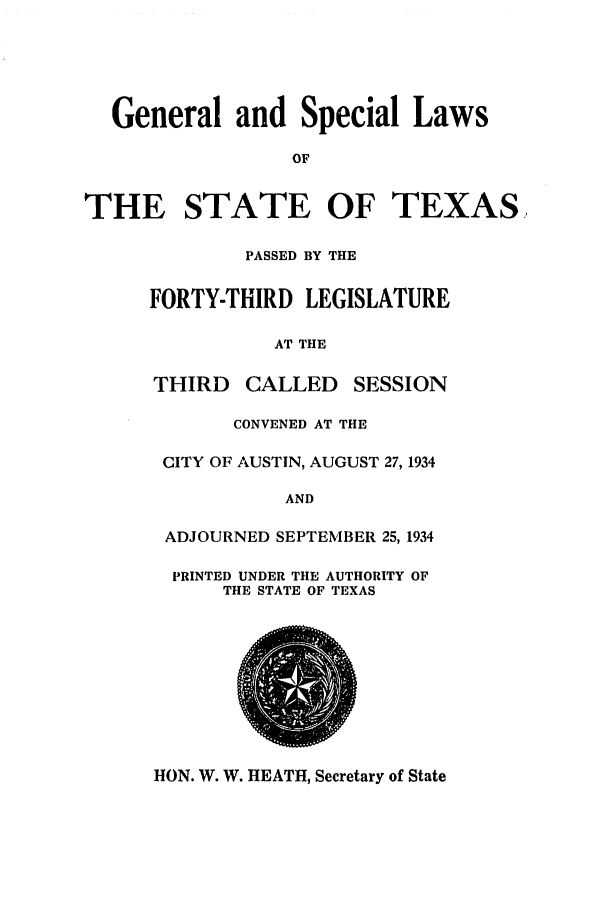 handle is hein.ssl/sstx0133 and id is 1 raw text is: General and Special Laws