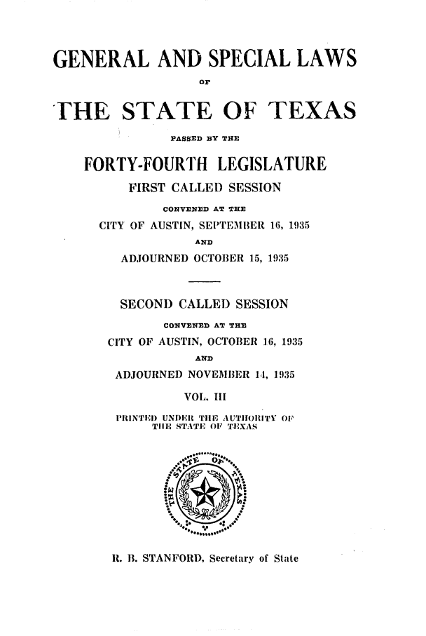 handle is hein.ssl/sstx0137 and id is 1 raw text is: GENERAL AND SPECIAL LAWS