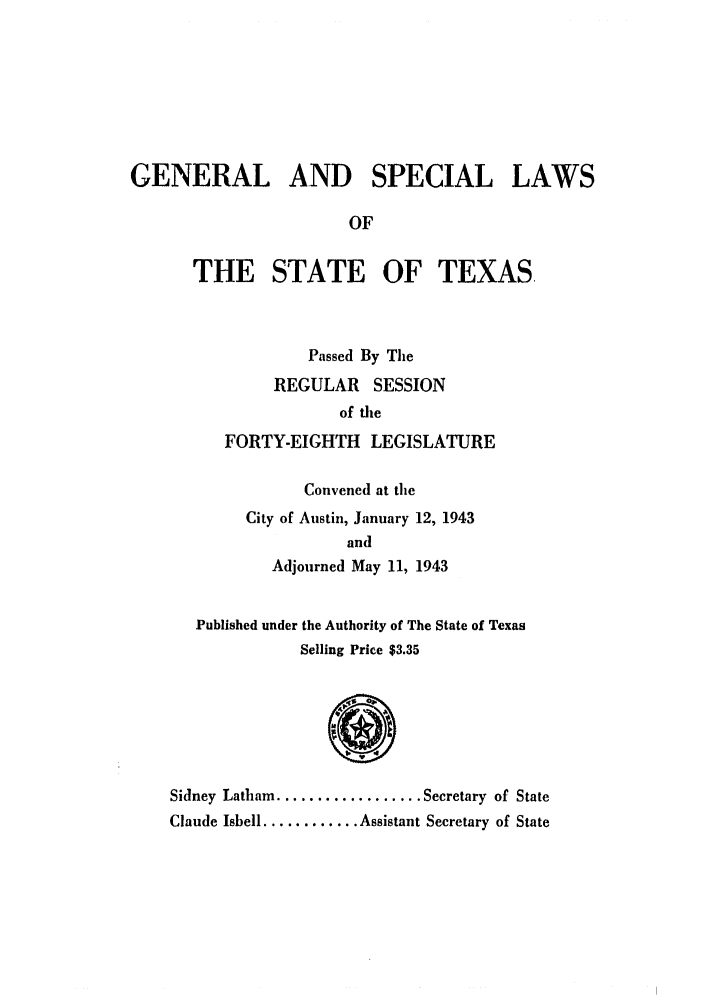 handle is hein.ssl/sstx0145 and id is 1 raw text is: GENERAL AND SPECIAL LAWS