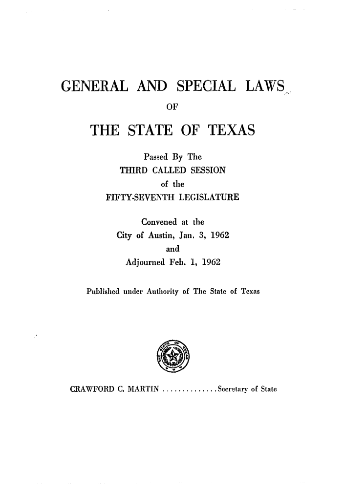 handle is hein.ssl/sstx0156 and id is 1 raw text is: GENERAL AND SPECIAL LAWS