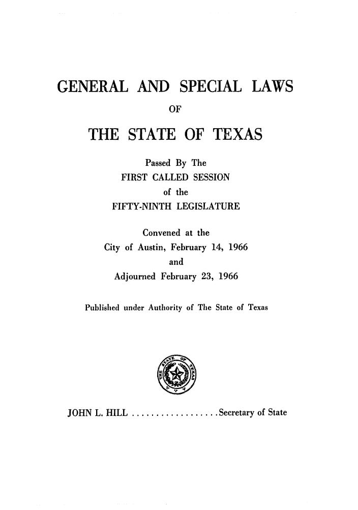 handle is hein.ssl/sstx0159 and id is 1 raw text is: GENERAL AND SPECIAL LAWS