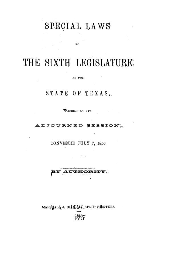 handle is hein.ssl/sstx0194 and id is 1 raw text is: SPECIAL LAWS