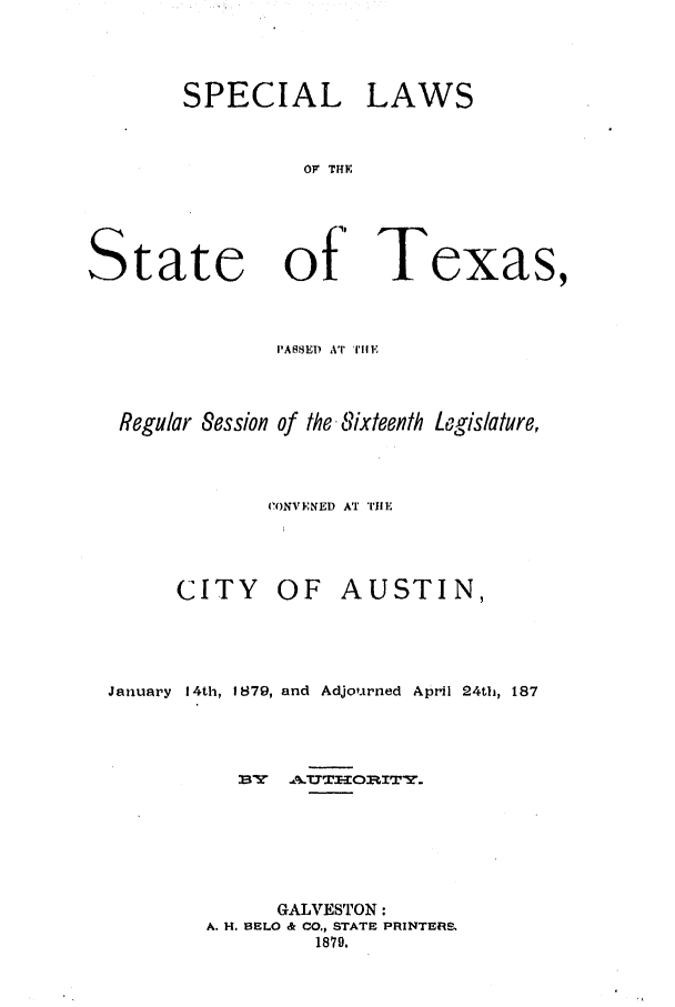 handle is hein.ssl/sstx0228 and id is 1 raw text is: SPECIAL LAWS