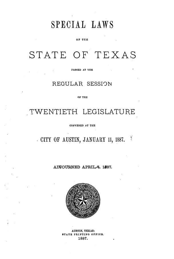 handle is hein.ssl/sstx0239 and id is 1 raw text is: SPECIAL LAWS