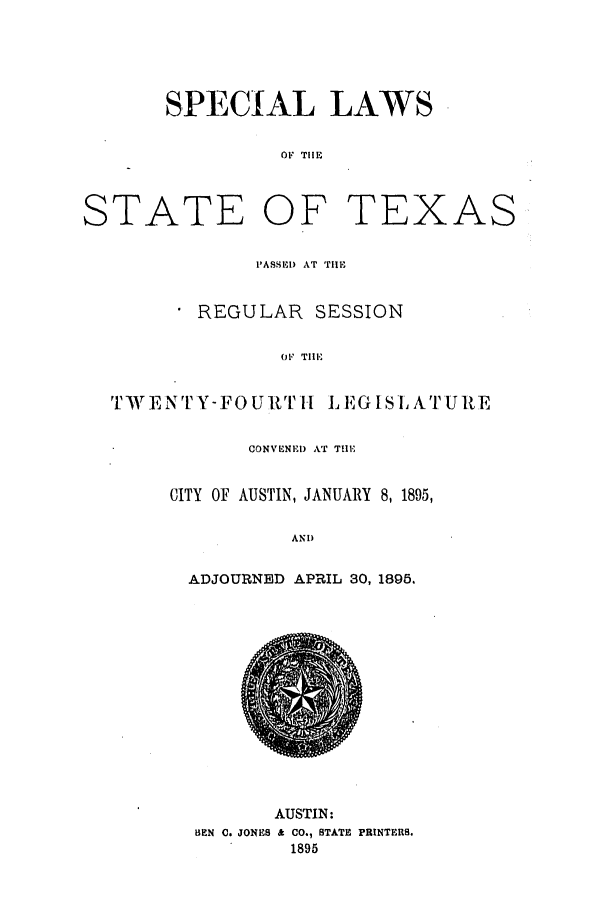 handle is hein.ssl/sstx0249 and id is 1 raw text is: SPECIAL LAWS