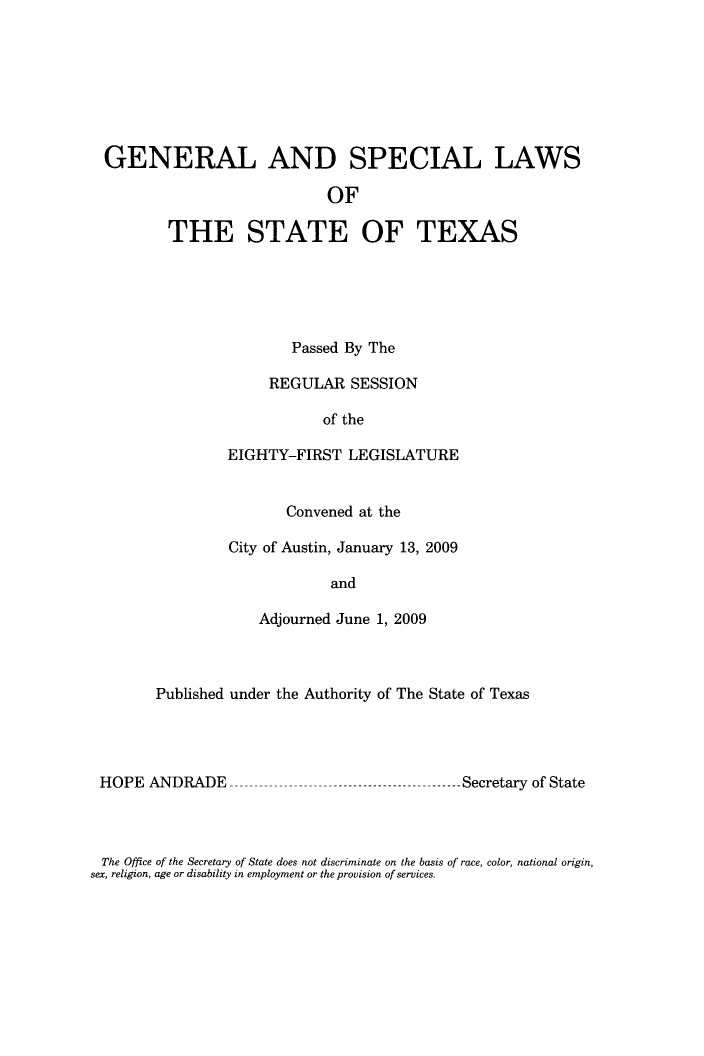 handle is hein.ssl/sstx0272 and id is 1 raw text is: GENERAL AND SPECIAL LAWS