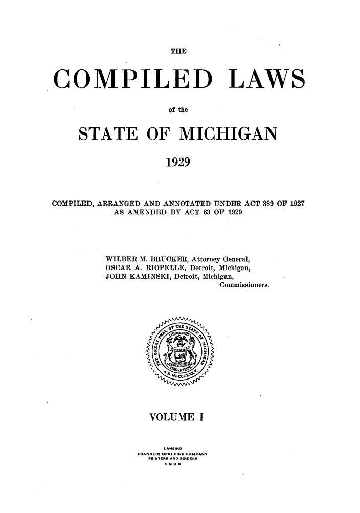handle is hein.sstatutes/clstmicun0001 and id is 1 raw text is: THE