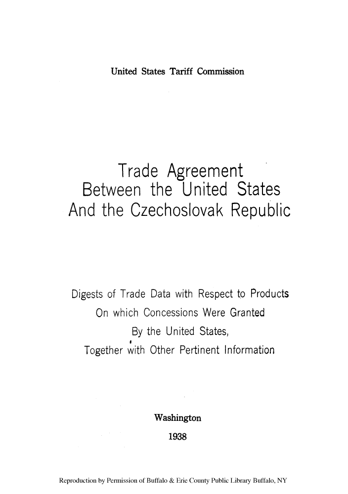 Trade Agreement Between The United States And The Czechoslovak
