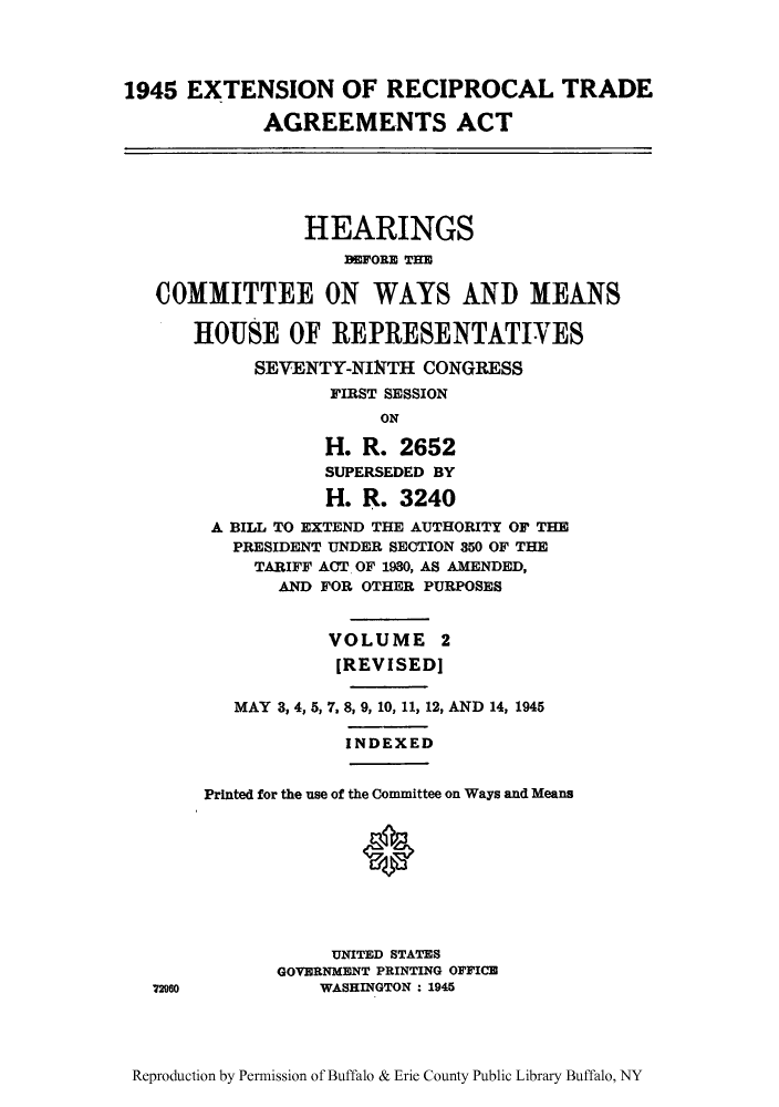 1945 Extension Of Reciprocal Trade Agreements Act Hearings Before
