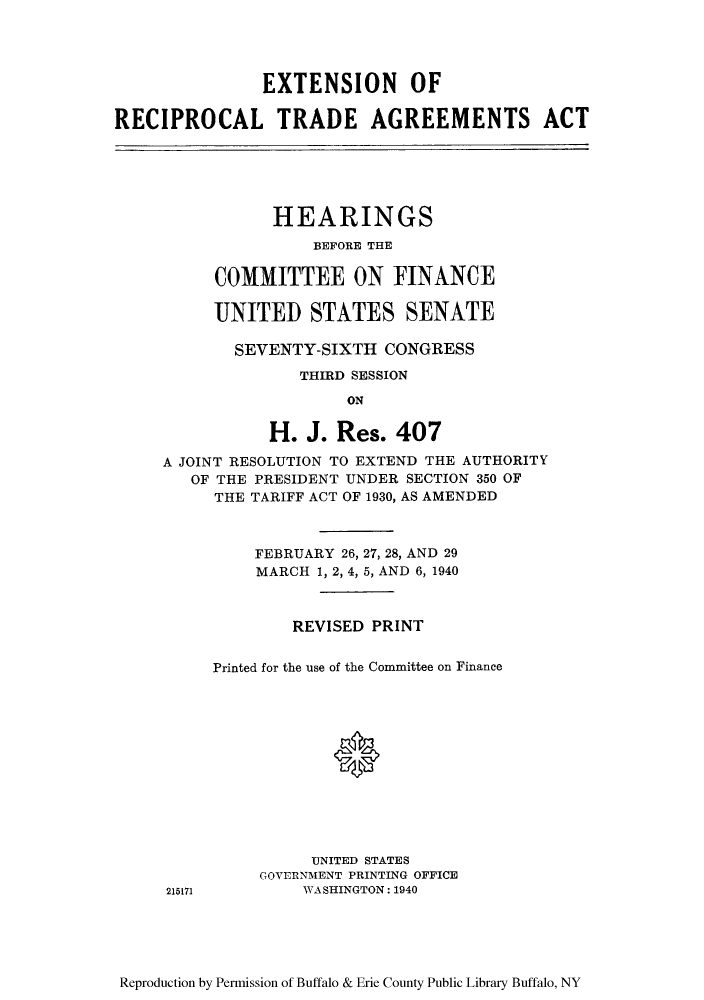 Extension Of Reciprocal Trade Agreements Act Hearings Before The