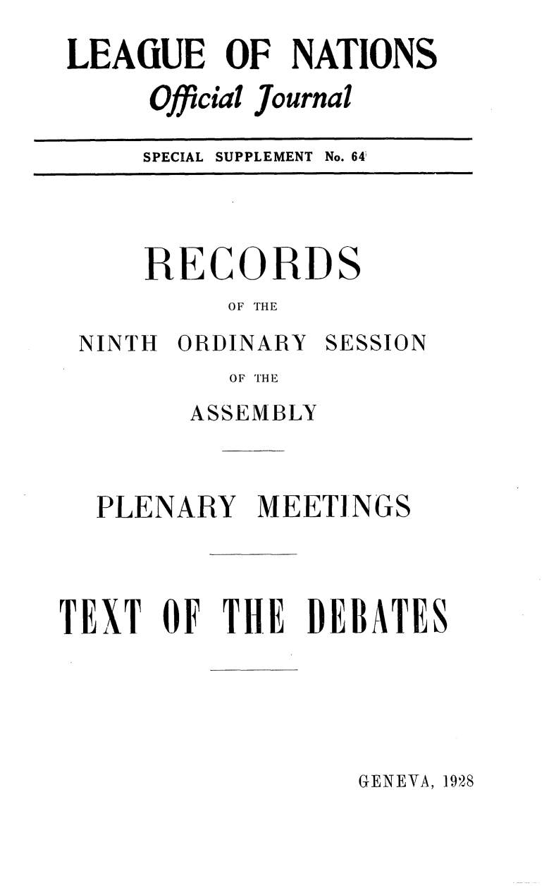 handle is hein.unl/offjrnsup0064 and id is 1 raw text is: LEAGUE OF NATIONS