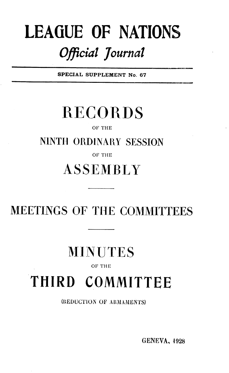 handle is hein.unl/offjrnsup0067 and id is 1 raw text is: LEAGUE OF NATIONS