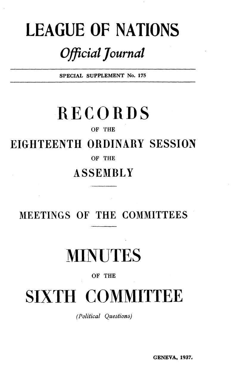 handle is hein.unl/offjrnsup0175 and id is 1 raw text is: LEAGUE OF NATIONS