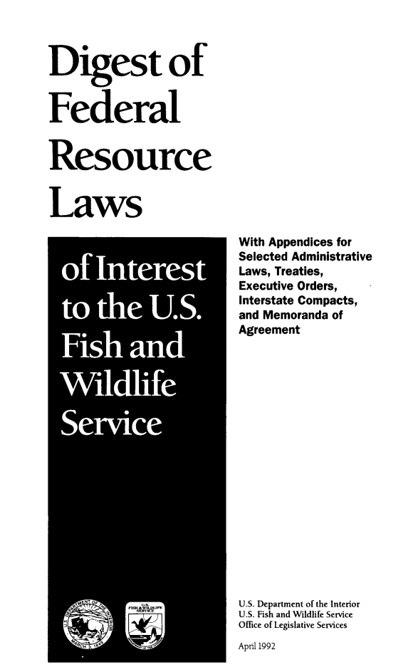 Digest Of Federal Resource Laws Of Interest To The Us Fish And