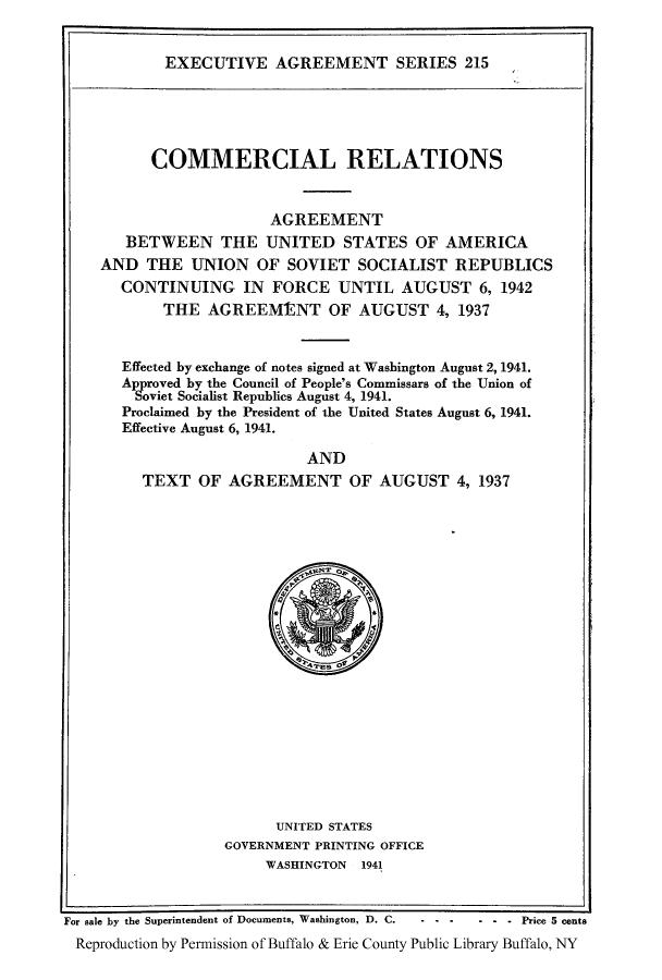 Executive Agreement Series V