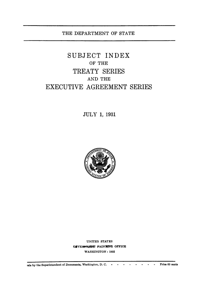 Subject Index Of The Treaty Series And The Executive Agreement